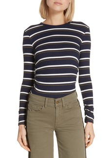 FRAME Stripe Ribbed Shirred Cuff Top