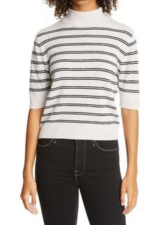 FRAME Stripe Wool & Cashmere Crop Sweater