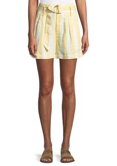 FRAME Striped Belted Linen Shorts