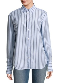 FRAME Striped Button-Down Cotton Dress Shirt