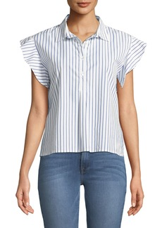 FRAME Striped Flounce Poplin Top