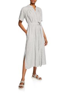FRAME Striped Linen-Cotton Belted Shirtdress
