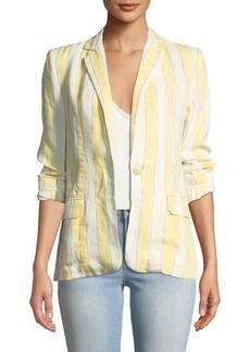 FRAME Striped Linen One-Button Blazer