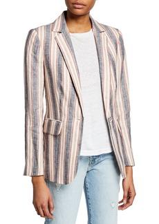 FRAME Striped Linen Single-Button Blazer
