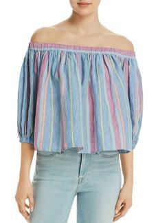 FRAME Striped Off-the-Shoulder Linen Top