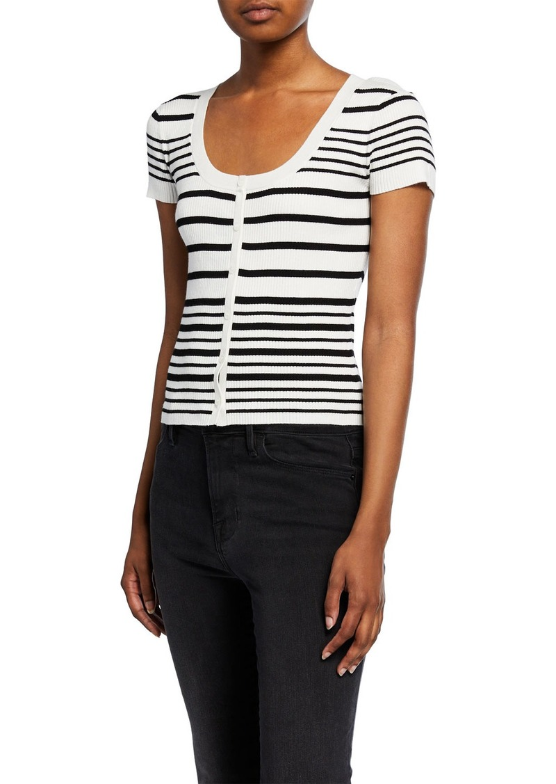 FRAME Striped Scoop-Neck Button-Front Sweater