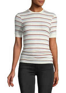 FRAME Striped Short-Sleeve Ribbed Tee
