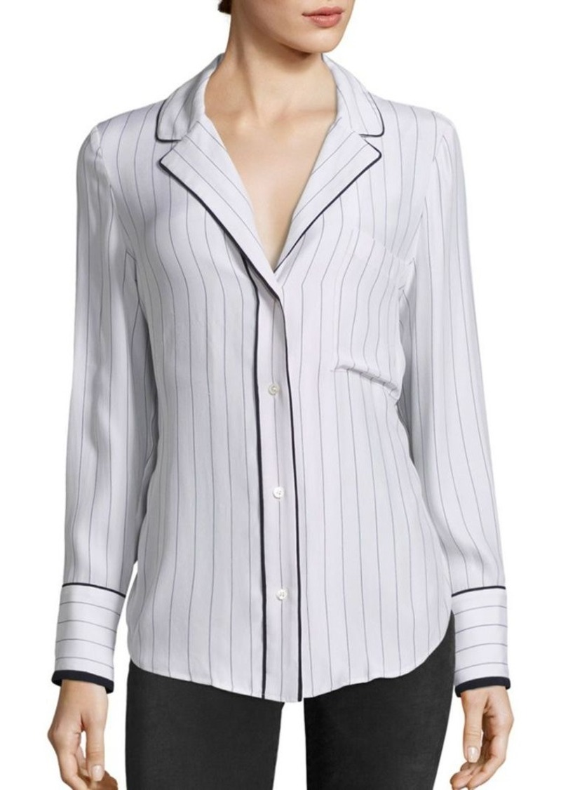 FRAME Striped Silk Pajama Blouse