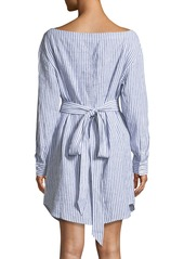 FRAME Striped V-Neck Button-Down Linen Dress