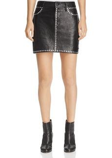 Frame Studded Leather Mini Skirt