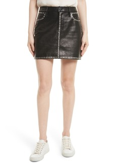 FRAME Studded Leather Miniskirt