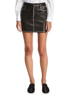 FRAME Studded Leather Short Pencil Skirt