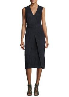 FRAME Suede Semi-Wrap Midi Dress