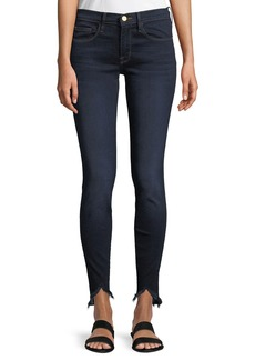 FRAME Sweetheart Dark-Wash Skinny Jeans w/ Raw-Edge Hem