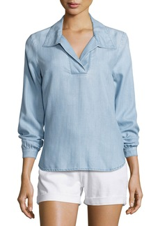 FRAME Tie-Back Collared Denim Blouse