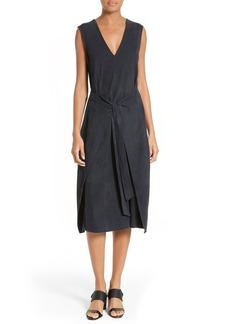 FRAME Tie Front Suede Dress