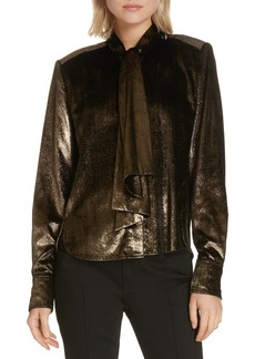 FRAME Tie Neck Metallic Velvet Top (Nordstrom Exclusive)