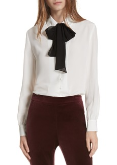 FRAME Tie Neck Silk Blouse