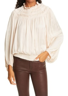 FRAME Trapped Ruching Poet Blouse