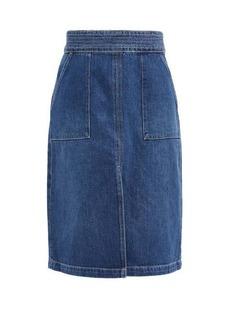 Frame Trapunto topstitched denim midi skirt
