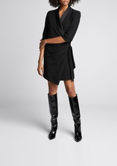 FRAME Tuxedo 3/4-Sleeve Wrap Dress