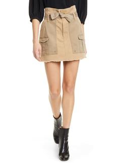 FRAME Two-Tone Paperbag Waist Miniskirt