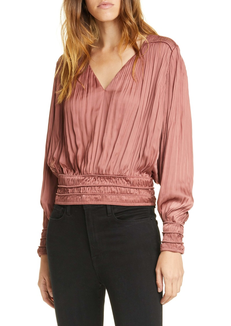 FRAME V-Neck Pleated Top (Nordstrom Exclusive)