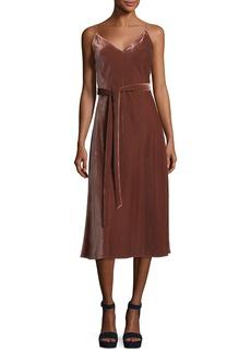 FRAME Velvet V-Neck Sleeveless Midi Slip Dress