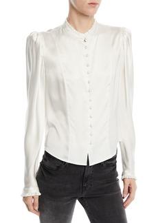 FRAME Victorian Pouf-Shoulder Button-Front Long-Sleeve Silk Blouse
