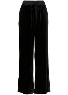 FRAME Drawstring waist velvet track pants