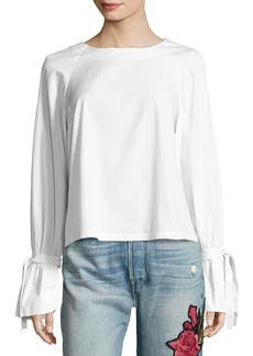 FRAME Voluminous Tie-Cuff Poplin Blouse