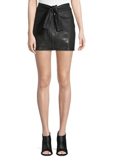 FRAME Waist-Tie Lamb Leather Mini Skirt