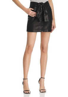 FRAME Waist-Tie Leather Mini Skirt