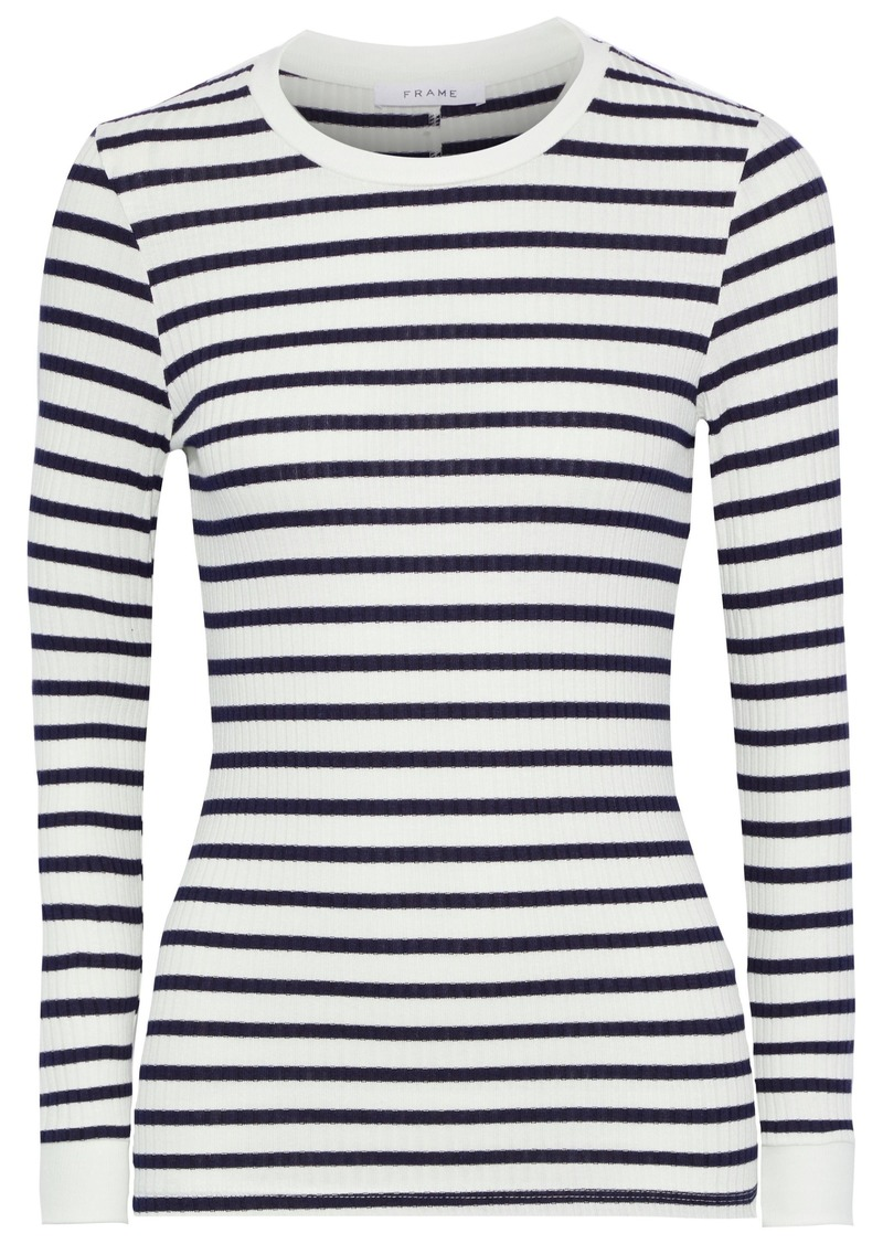 Frame Woman 70s Striped Ribbed Jersey Top Midnight Blue