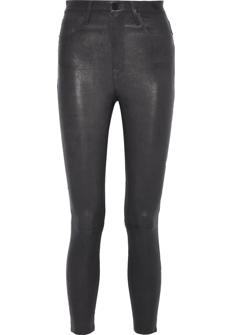 Frame Woman Ali Cropped Leather Skinny Pants Charcoal