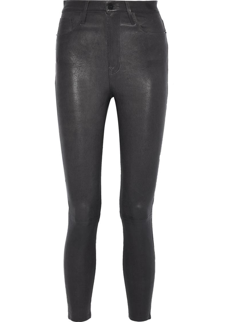 Frame Woman Ali Cropped Leather Skinny-leg Pants Charcoal