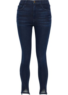 Frame Woman Ali Distressed High-rise Skinny Jeans Dark Denim