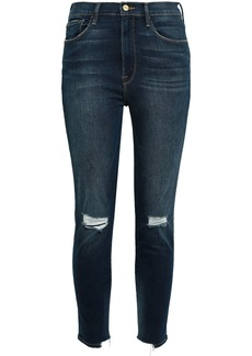 Frame Woman Ali High Rise Cigarette Cropped Distressed High-rise Skinny Jeans Dark Denim