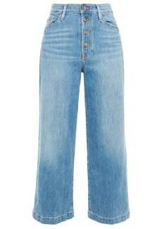 Frame Woman Ali Wide Crop Faded High-rise Wide-leg Jeans Mid Denim