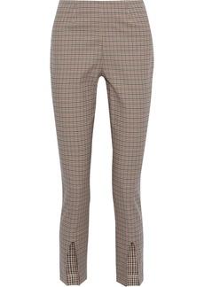 Frame Woman Andorra Split-front Gingham Cotton-blend Slim-leg Pants Beige
