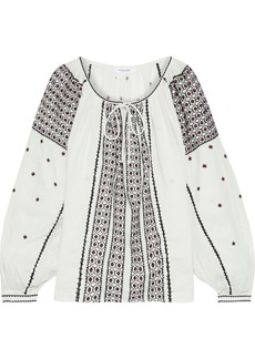 Frame Woman Anita Gathered Embroidered Linen-gauze Blouse Off-white
