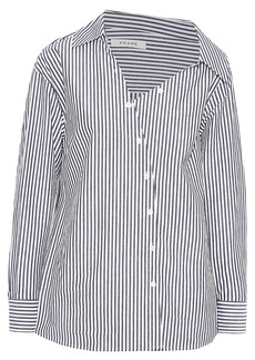 Frame Woman Aslant Off-the-shoulder Striped Cotton-poplin Shirt Gray