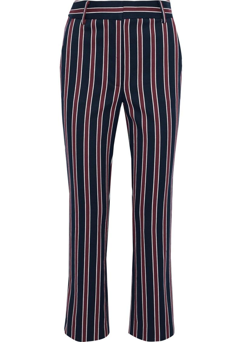 Frame Woman Backstage Striped Cotton-blend Twill Straight-leg Pants Midnight Blue