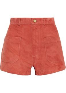 Frame Woman Bardot Suede Shorts Papaya