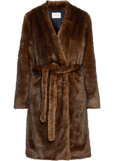 Frame Woman Belted Faux Fur Coat Brown