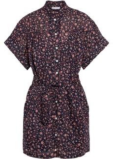 Frame Woman Belted Floral-print Ramie Mini Shirt Dress Navy