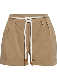 Frame Woman Belted Pleated Cotton-blend Shorts Sand