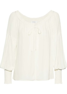 Frame Woman Bow-detailed Gathered Crepe Blouse Off-white