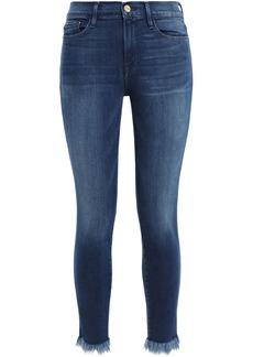 Frame Woman Le Skinny De Jeanne Cropped Frayed Mid-rise Skinny Jeans Dark Denim