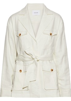 Frame Woman Cargo Belted Linen-blend Drill Jacket Off-white
